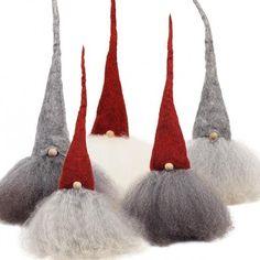 Swedish Santas...gotta figure out how to make. Felt hat, combed yarn, wood bead?