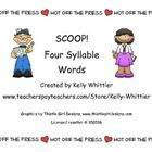 $   SCOOP! Four Syllable Word Card Game is a two - four player card game.  It's a race to see who can read the most four syllable words before the o...