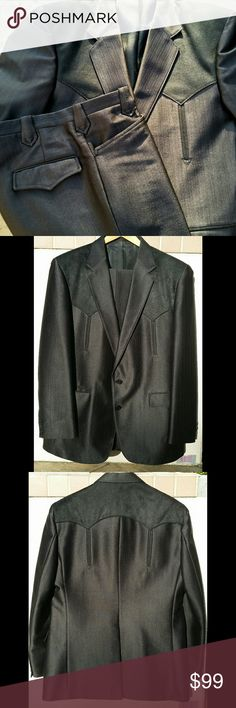 Circle S Western Suit Western Dress Suit Color is dark brown almost black Jacket 42 Regular Pants 34  Excellent condition  Made in USA - Dallas Texas Freddies Finds Suits & Blazers Suits