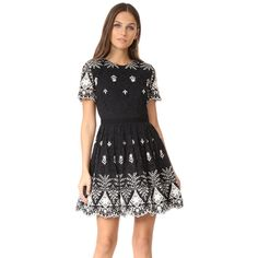 alice + olivia Nigel Party Dress (659 AUD) ❤ liked on Polyvore featuring dresses, open back short dresses, short sleeve cocktail dresses, lace mini dress, short-sleeve lace dresses and open back cocktail dress