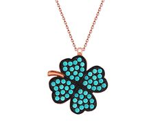 925 Sterling Silver Rose Plating Turquoise Stone Four Leaf Clover Necklace