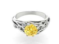 Breathtaking Engagement ring, UNIQUE Ring, I've got you under my skin, Vein ring, One of a kind, Yellow NATURAL Sapphire and Diamonds by BridalRings on Etsy https://www.etsy.com/listing/245248986/breathtaking-engagement-ring-unique-ring