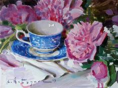 """Daily Paintworks - """"Peonies and Blue China"""" - Original Fine Art for Sale - © Elena Katsyura Tea Cup Art, Daily Painters, Summer Memories, Blue China, New Artists, Fine Art Gallery, Art For Sale, Peonies"""