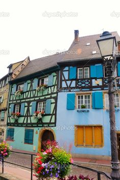 Colourful old houses with shutters, Colmar, France
