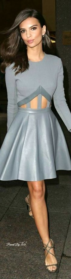ffebed04c458 Actress Emily Ratajkowski ~ wearing a cute full skirt midi in sIlver grey