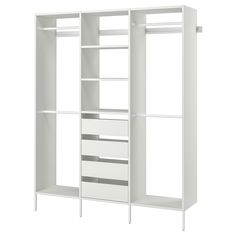 AURDAL Wardrobe combination, white. Do you want to utilize the small and tricky places in your home? With AURDAL storage system you can customize a solution to fit all your storage needs for shoes and clothes. Ikea Wardrobe Hack, Ikea Closet Hack, Wardrobe Shelving, Ikea Closet Organizer, Closet Hacks, Pax Wardrobe, Closet Ideas, Closet Organization, Kids Closet Storage