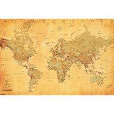 Art.com - World Map Vintage Style Poster