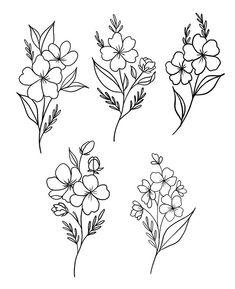 Mini Tattoos, Cute Tattoos, Flower Tattoo Designs, Flower Tattoos, Traditional Tattoo Flowers, Simple Tats, Bordado Floral, Flash Design, Pigma Micron