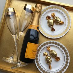 Champagne, Chocolate and Gold...the perfect combo for the Glamorous Mom!  Lenox Timeless Gold flutes, Lenox Prismatic Gold butter dishes.