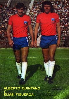 Alberto Quintano and Elias Figueroa of Chile in Fifa, Big Men, Love Affair, Soccer Players, Shirt Dress, T Shirt, Athlete, Swimming, 1970s