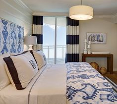 Blue and white coastal bedroom. W Design Interiors.