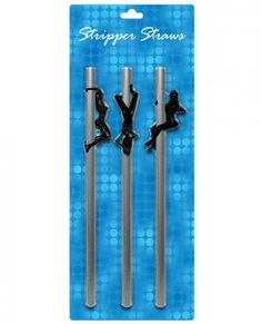 Each package contains 3 silver colored straws with plastic figurines of sexy strippers attached to each one! Strippers can be moved up and down their poles to accommodate various cup sizes. Straws are 8.5 inches tall.