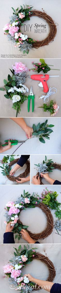 Make your own DIY spring wreath for your front door with gorgeous silk flowers from afloral.com! #DIY Design by Huckleberry Karen Designs Photos by Tuan Dang Photography