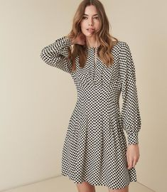 REISS - EDNA CHECK PRINTED FIT AND FLARE DRESS Reiss Dresses 6f0167996