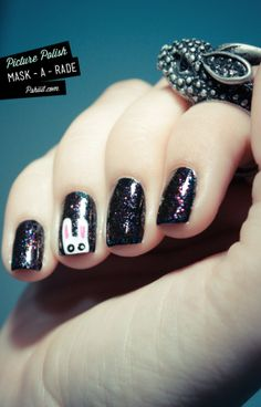 Easter Bunny Nails, Picture Polish Art, DIY Black Nail #2014 #easter #bunny #nails www.loveitsomuch.com