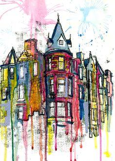 Edinburgh city, city buildings, buildings artwork, a level art, urban sketc Building Illustration, City Illustration, Illustration Artists, Edinburgh City, Building Art, A Level Art, City Buildings, Buildings Artwork, Gcse Art