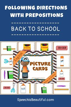 Back to School themed Following Directions with Prepositions – This high quality speech therapy resource includes picture cards, progress monitoring sheets, question cards, and more to teach following directions! - Speech is beautiful #speechtherapyactivities #followingdirections #slpeeps #backtoschoolspeech
