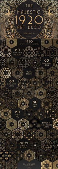Back to the with the Gatsby style and the elegant geometric shapes. A modern and classy trend that never gets old. I'm proud to introduce you The Majestic Art Deco Patterns Collection, the volume of my first art deco pack Corporate Identity Design, Art Deco Pattern, Pattern Design, Moda Art Deco, Illustration Design Graphique, Art Deco Stil, Paper Towns, Style Deco, Design Poster