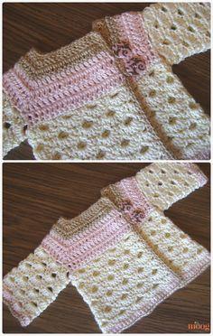 Crochet Mini Moogly Sweater Scallop Stitch Cardigan FreePattern- Crochet Kid's Sweater Coat Free Patterns