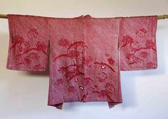 Radiant Orchid Japanese vintage fuchsia shibori kimono jacket (haori)