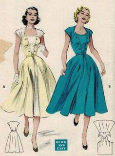 Retro Sewing Butterick 6472 *UNCUT Ca. Wraparound dress: 3 main pattern pieces Make it in a day - wear it for many occasions. Back wraps to the front - Moda Vintage, Vintage Mode, Vintage Outfits, Vintage Dresses, Vintage Clothing, 1950s Dresses, Vintage Dress Patterns, Clothing Patterns, Formal Dress Patterns
