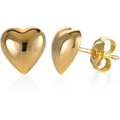 Dimensional Heart Stud Earrings in 10k Gold ($250) ❤ liked on Polyvore featuring jewelry, earrings, yellow gold, heart jewelry, stud earrings, gold heart jewelry, gold stud earrings and heart shaped earrings