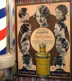 1920s Hair Tonic for styling Bobs, notice this is a barber shop ad. Women went to barbers to cut off their hair when hairdressers refused to cut it. Also during that time money could be an issue and it was less expensive to have a barber cut your hair.
