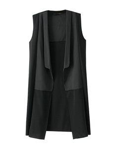 Fashion Solid Color Long Patchwork Waist Coat