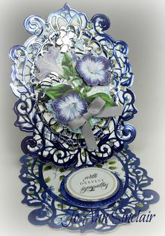 Easel card, made with dies from Spellbinders. Patterned paper, flowers and sentiment are from Anna Griffin. Tattered Lace Cards, Spellbinders Cards, Anna Griffin Cards, Step Cards, Fancy Fold Cards, Easel Cards, Beautiful Handmade Cards, Heartfelt Creations, Sympathy Cards
