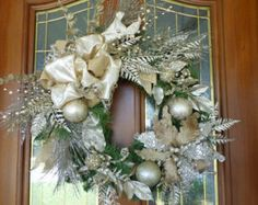 Christmas Door Swag Christmas Wreath by JulieButlerCreations