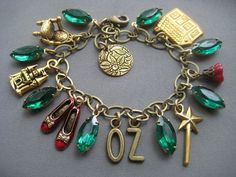 Wizard of Oz Jewelry - Oz Charm Bracelet - Oz the Great and Powerful - Emerald City - Dorothy Ruby Slippers - The Wizard of Oz - Fairytale