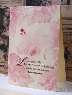 hand created card by Jacqueline ... one layer design ... monochromatic dusty pink ... watercolor look with stamps that do the shading ... romantic sentiment perfect for the images ... Hero Arts ... delightful!!