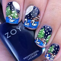 Seven Swans Swimming - Full details on this mani and how I created it can be found on my blog ManicuredandMarvelous.com #nails #nailart #naildesign #cutenails #Christmas #HolidayNails #12DaysofChristmas