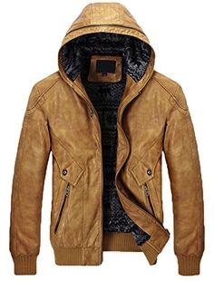 BELIAY Mens Vintage PU Leather Jacket Winter Padded Warm Standing Collar Windproof Motorcycle Tops Multi Big Pocket Coats