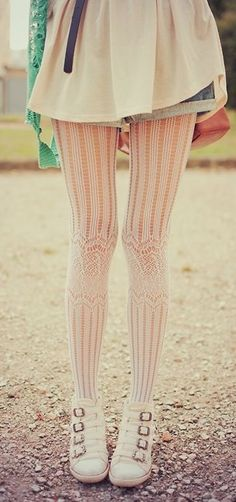 Lace Tights <3  My favorite thing about these tights is the way the knees are accentuated.
