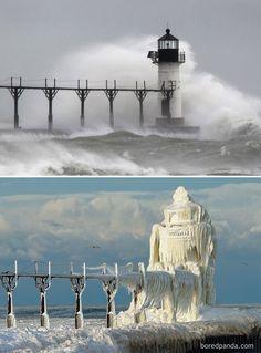 Fotos mostram paisagens transformadas pelo inverno