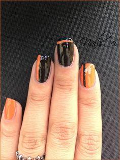- Unghie Nero e Arancione con decorazione -