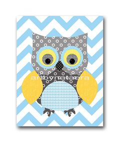 Owl Decor Owl Nursery Baby Boy Nursery Art Nursery by artbynataera, $14.00...so think I could make this :)