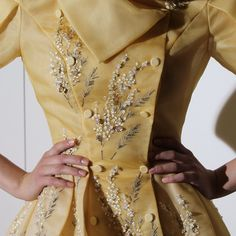 Couture Fall-Winter 2014-2015 collection fitting in Paris. Hand embroidered organza dress with voluminous skirt