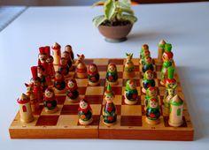 Vintage Original Hand Painted Chess Set From Soviet Union-Belarus(Brest)-15.10.1986. Schachspielset aus der UdSSR. Made in USSR - (8) von SovietGallery auf Etsy