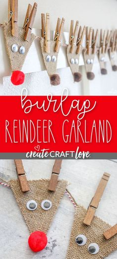 This Burlap Reindeer Garland, featuring Rudolf and the whole gang, will look adorable in your house this holiday season! This Burlap Reindeer Garland, featuring Rudolf and the whole gang, will look adorable in your house this holiday season! Xmas Crafts, Diy Christmas Ornaments, Homemade Christmas, Simple Christmas, Decor Crafts, Christmas Gifts, Burlap Christmas Crafts, Diy Christmas Decorations, Reindeer Decorations