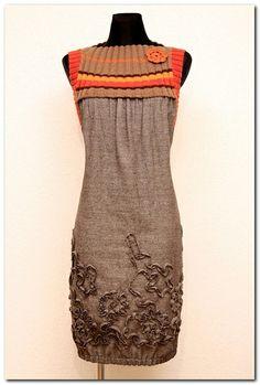 Sukienka Tweed Melanż Brąz - Karczek - orange /... w agaartpl  na DaWanda.com