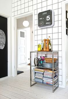 Love this industrial look and the clock is devine. Check out this blog for Swedish bliss