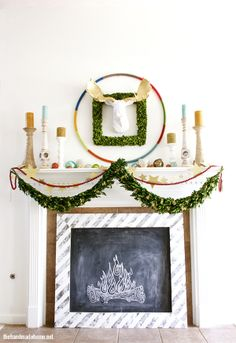 A holiday mantel filled with holiday inspiration