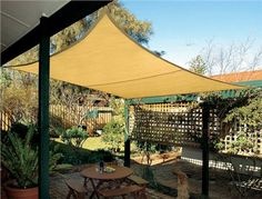 Shade Sail Square 17.9 Foot Made of knitted, breathable fabric that won't trap heat. Material is HDPE, UV stabilized so that it will not break down in the sun, tear or fray. Material resists mold and mildew and is easy to clean. Provides 90% UV block and significantly reduces temperatures. 10 year warranty against UV degradation. - See more at: http://www.thegardengates.com/Shade-Sail-Square-p24615.aspx#sthash.B4C5FQAx.dpuf