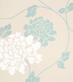 "Std Wp Isodore Duck Egg - Wallpaper width 53cm (21""); roll length 10metres (33"") - Wallpaper"