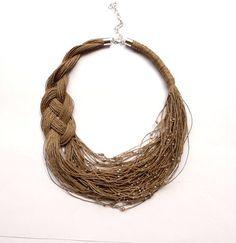 Lino bib collana collana lino eco gioielli naturali di Feltpoint