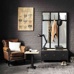 Scott Black Metal Hallway Unit and Mirror: This industrial hallway storage unit has five handy hooks, three mirrors and three tidy compartments for shoes plus a seat with a weathered wood finish Hallway Unit, Hallway Storage, Hallway Ideas, Entryway Ideas, Black Hallway, Hallway Seating, Hallway Inspiration, Entryway Mirror, Hallway Furniture