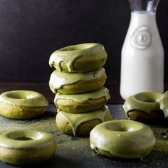 Matcha Glazed Doughnuts- baked not fried with that amazing green tea flavor!