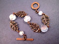 Leaf Bracelet Frosty White Glass and Copper Beaded by justCHARMING